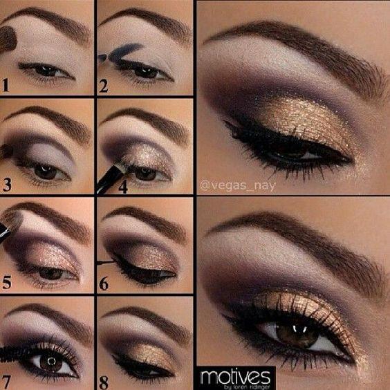 maquillaje de noche con toques dorados