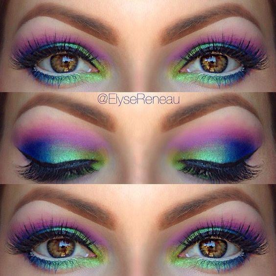 maquillaje de noche con toques multicolor